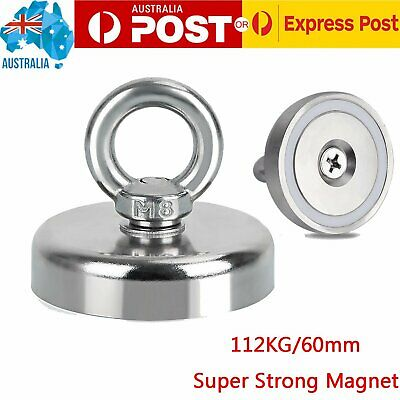 112Kg 60mm Salvage Strong Recover Magnet Neodymium Hook Treasure Hunting Fishing