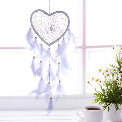 White Heart Dream Catcher Hanging Wall Decor Car Handmade Ornament Feathers Gift