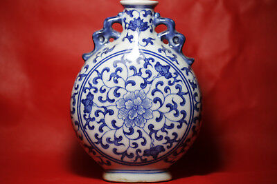 Antique fine Chinese beautiful Blue and white Porcelain flat Vase W93