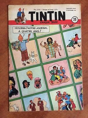 Journal Tintin Belge N°39 1950 - Tbe - Couv. Hergé Tintin - Jacobs, Cuvelier...
