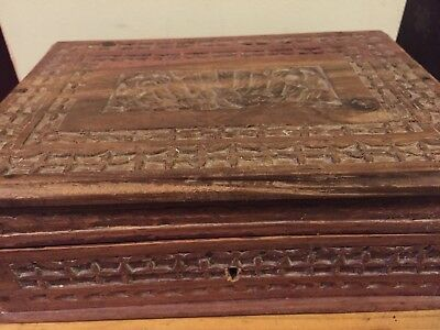 Vintage Carved Wooden Box - Indian?