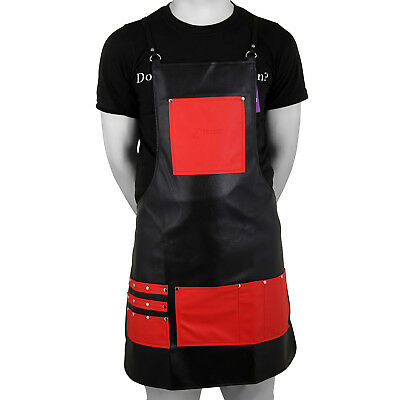 Barber Apron Black Leather Apron with Phone Hair Cutting Tools 8 Pockets Forgica