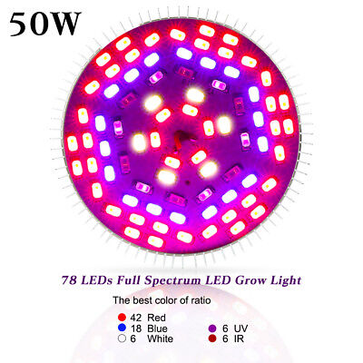 50W E27 LED Grow Light Full Spectrum for Indoor Veg Flower Plant Hydroponics DE