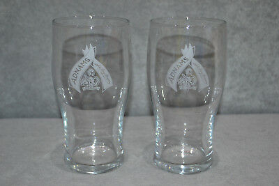 Pair Of (2) Adnams One Pint Glass Vintage Retro Glasses Crown Stamped Rare New