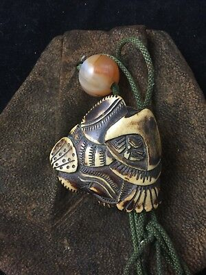Antique Japanese Edo Leather Tobacco Pouch With Antler Netsuke of Shells & Crab