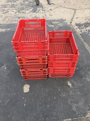 10 x Deep Plastic Vented Stacking Euro Boxes 60 x 40 x 25cm