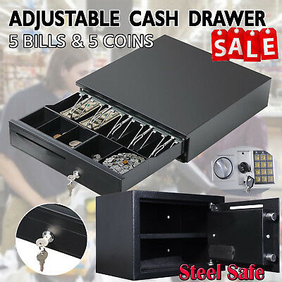 Cash Money Drawer 5 Bills 5 Coins Security Safety Box Steel Safe 3 Sizes & Color