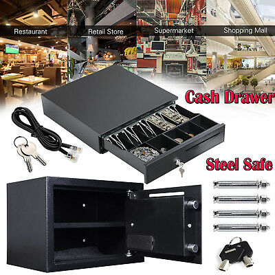Cash Money Drawer 5 Bills 5 Coins Digital Security Steel Safe Box Lock W/ Keys