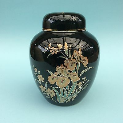 RETRO JAPANESE PORCELAIN GINGER JAR Lidded Iris Flowers on Black Gold Detailing