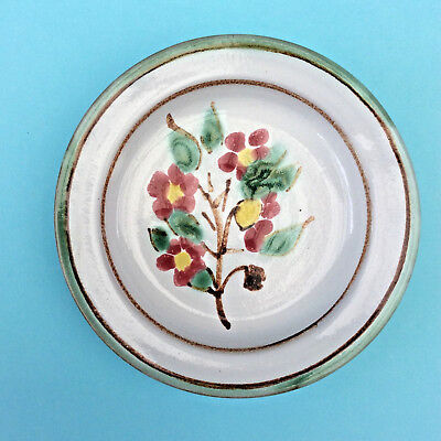 AUSTRALIAN STUDIO POTTERY TERRACOTTA PIN DISH Signed Hand-painted Floral