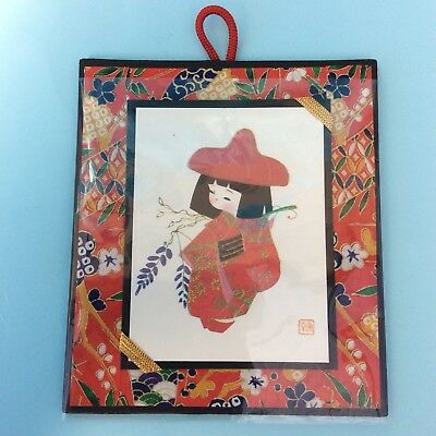 JAPANESE MOUNTED PRINT GEISHA GIRL KIMONO ART Signed Paper Tradition Wall Hanger