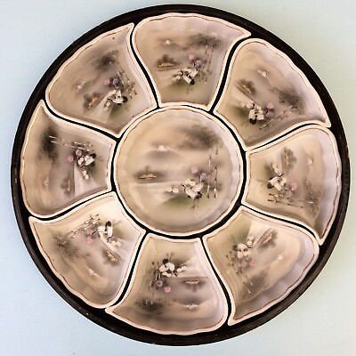 VINTAGE JAPANESE HAND-PAINTED PORCELAIN 9 Dish Snack Serving Platter Laquer Tray