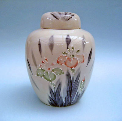 RETRO JAPANESE PORCELAIN GINGER JAR Lidded Moriage Iris Flowers on White 1970s