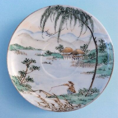 VINTAGE SAUCER PIN DISH JAPAN Egg Shell Thin Hand Painted Artist Signed Fishing