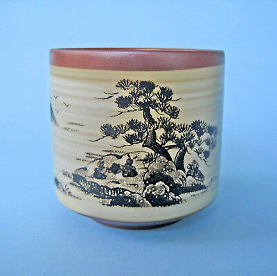 RETRO TEA CUP JAPANESE RED POTTERY Hand Painted Landscape Fine Studio Art