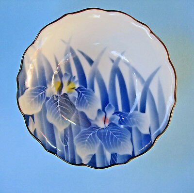VINTAGE DISH BOWL JAPAN Porcelain Hand-painted Blue Iris Flowers BEAUTIFUL!