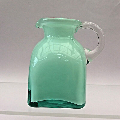 VINTAGE CASED GLASS JUG Pale Green & White Clear Handle 1970s Italian? Art Glass