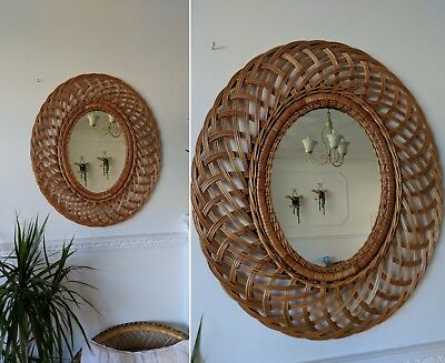 GREAT BOHO vtg 1960s OVAL RATTAN CANE WICKER LARGE WALL MIRROR 1970s MID CENTURY