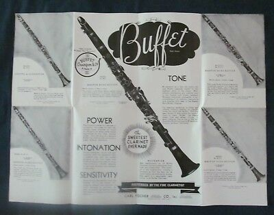 c1930's Advertising Brochure Buffet Crampon & Cie Clarinets, Oboes, English Horn