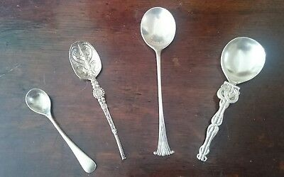 Small Collection of 4 Various Antique Silver Spoons