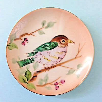 VINTAGE PIN DISH PLATE 1950S JAPAN Hand Painted Bird Wall Hanger Display CUTE!