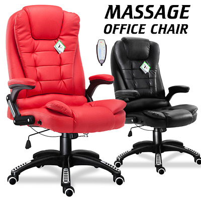 Home Office Massage Chair 6 Point Heated Gaming Fx Leather Swivel Recline Rock