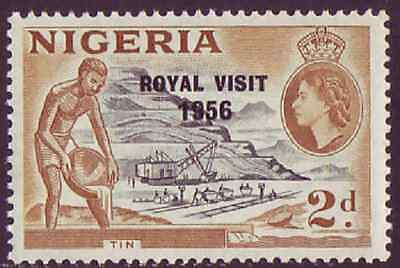 Nigeria 1956 QEII Royal Visit Overprint On 2d Tin Mining Definitive SG 81 UM