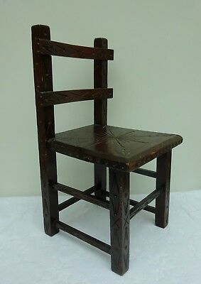 Antique Small Child's Wooden Arts & Crafts Mission Style Chair Doll Original