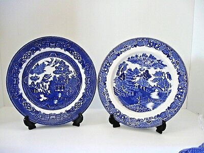 """2 Very Old """"Blue Willow"""" Dinner Plates by Greeley & Allenton"""
