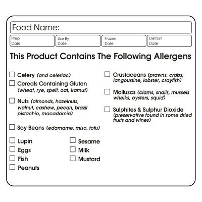Food Allergy Warning Labels Catering Baking Stickers X 72