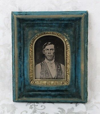 Antique 19th C. Victorian Velvet Wood Frame With Cowboy Tintype Photograph