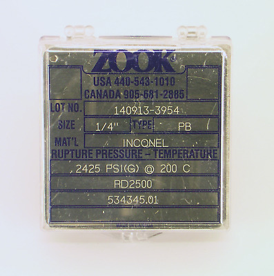 """Zook PB Series RD2500 Rupture Disk,  2500 PSIG (172 bar) - 1/4"""" inch - Inconel"""
