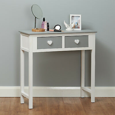 Roost 2 Drawer Grey Dressing Table Heart Handled Console Tables Girls/Childrens