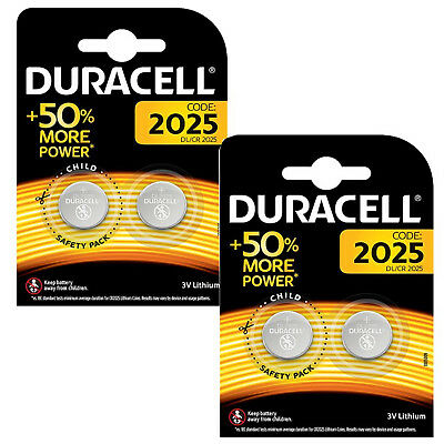 Genuine 4X Duracell Cr2025 3V Lithium Coin Cell Battery 2025 Dl/br2025