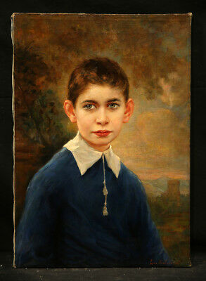 Antique 19th Century Belgian Painting Young Boy Realistic Style European School