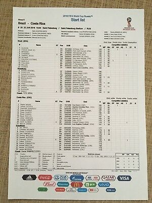 World Cup Official Colour Fifa Teamsheet Brazil V Costa Rica 22-06-2018