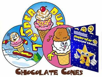 60 Scratch & Sniff Cool Cones Chocolate Scented Reward Stickers & Chart