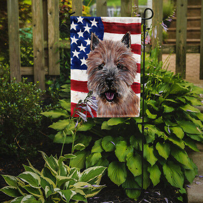 Norwich Terrier with American Flag USA Flag Garden Size