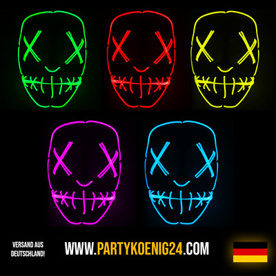 LED Light EL Wire Cosplay Maske für Halloween Party Costume Mask Purge