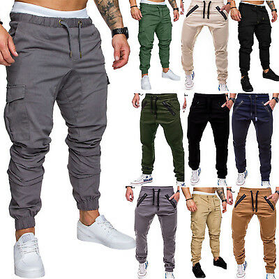 Men Elasticated Waist Cargo Summer Work Trousers Slim Fit Casual Bottoms Pants