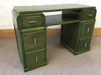 Funky Green Shabby Chic art deco Style writing desk / Dressing Table
