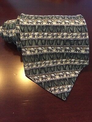 Jimmy Valvano Collection two Elephant tie 100% silk made in USA by Stonehenge 57
