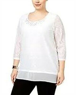 8aae36d4337 JM Collection Womens Top Plus Size 2X Bright White Lace Overlay NEW  a 282