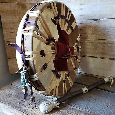 Authentic Native American Handcrafted Drum with Beater - Signed Dated