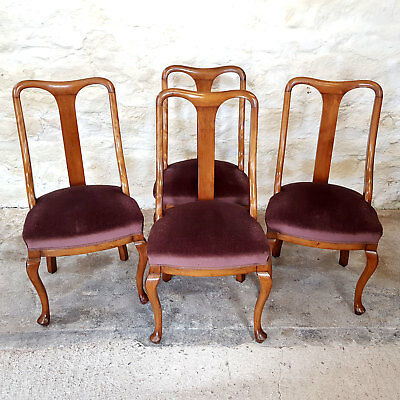 Queen Anne Set of 4 Mahogany Dining Chairs Early C20th (Antique)