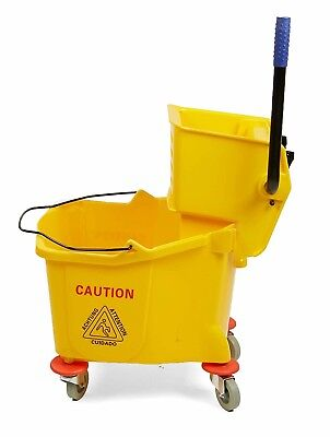 Large Mop Bucket with Wringer 38 Quart Side Press Yellow Commercial MIND READER