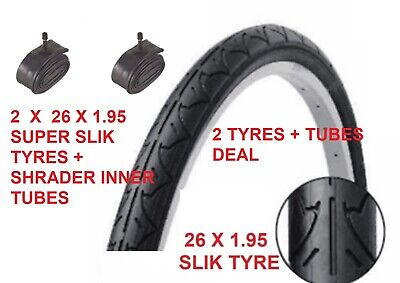 """2 x 26"""" x 1.95""""  Slick City Bike Cycle road  tyres, + shrader tubes is option 2"""