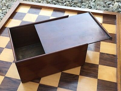 Antique Mahogany Slide Lid Chess Box Jaques Whitty BCC Style 19th Century