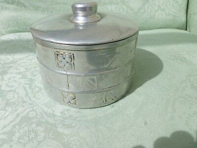 Antique Aluminium Biscuit Barrel Ncj Ltd Stratford On Avon Arts And Crafts Knox
