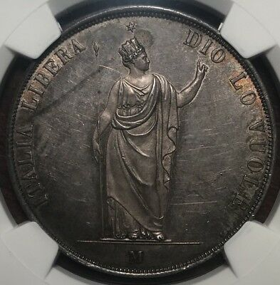 1848 M Italy 5 Lire NGC MS61 Lombardy Short Stems